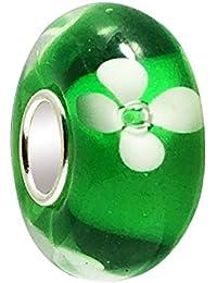 Clover Flower 925 Sterling Silver Round Blossom Glass Bead For European Charm Bracelets