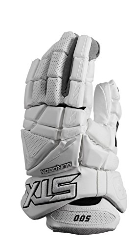 STX Lacrosse Surgeon 500 Gloves with Climate Control, White, 12'
