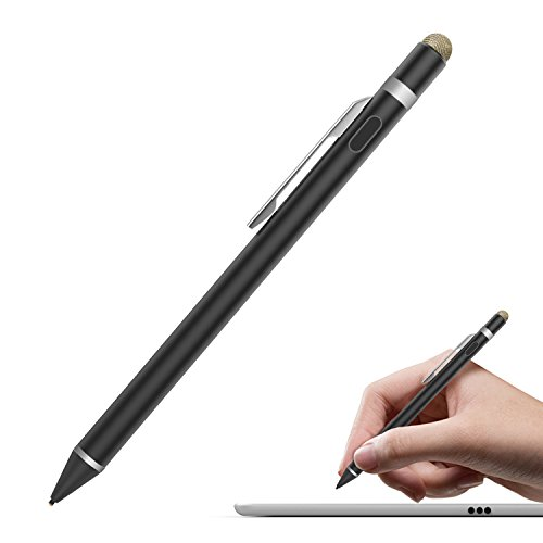 MoKo Universal Active Stylus, 2 in 1 High Precision Sensitivity 1.5mm Capacitive Pen, Metal Stylus Pen for Touch Screen Devices Smartphones & Tablets (iPad, iPhone X/8/8 Plus, Samsung etc.) - Black