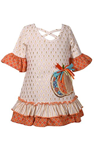 Bonnie Jean Girls' Little Appliqued Dress, Ivory Pumpkin, 6