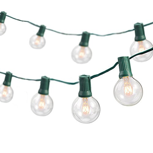 Newhouse Lighting Outdoor String Lights with Weatherproof Technology, Heavy Duty 25-foot cord with 25 sockets and 30 light bulbs included (5 Free Bulbs Included)