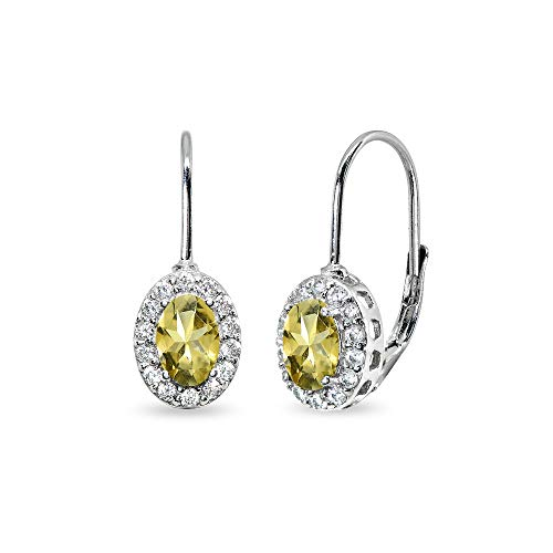 Sterling Silver Citrine & Cubic Zirconia 6x4mm Oval Halo Drop Leverback Earrings