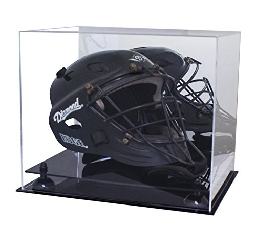 Better Display Cases Deluxe Acrylic Catchers Helmet Display Case with Black Risers and Mirror (A002-BR) ()