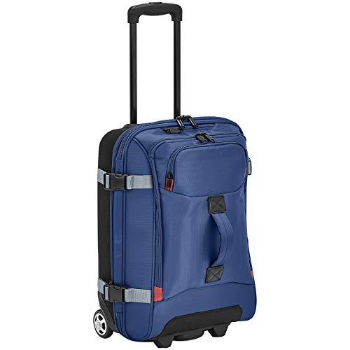 AmazonBasics Rolling Travel Duffel Bag Luggage with Wheels, Small, Blue