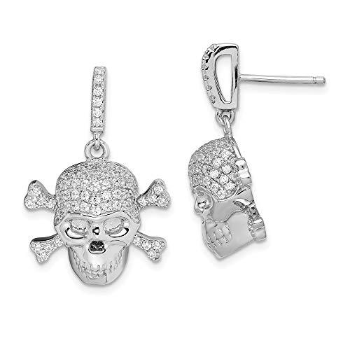 925 Sterling Silver Cubic Zirconia Cz Skull Drop Dangle Chandelier Post Stud Earrings Fine Jewelry Gifts For Women For Her
