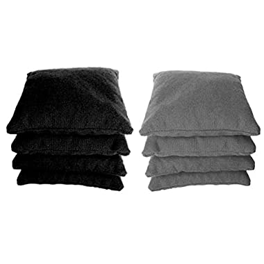 8 Standard Corn Filled Regulation Duck Cloth Cornhole Bags! 17 COLORS (YOU PICK)!! (Black/Grey)