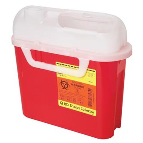 Sharps Horizontal Entry Locking Cabinet - Sharps Collector, 5.4 Qt, Side Entry, Red