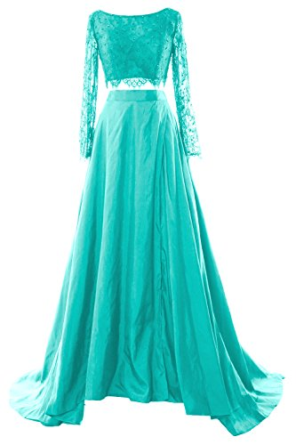 Lace MACloth Prom 2017 Evening Long Formal Maxi Piece Dress Women 2 Turquoise Gown Sleeve wgxq1X46gr