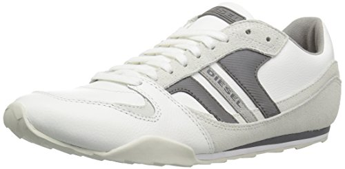 Casual Stripe Sneakers (Diesel Men's Gunner Fashion Sneaker,White/Charcoal Grey,12 M US)
