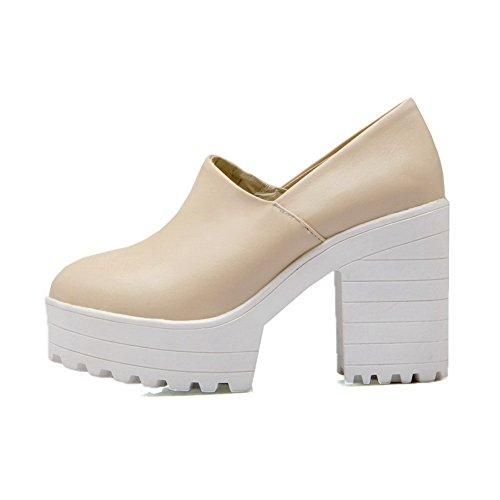 BalaMasa Girls round-toe solido imitato in pelle pumps-shoes, Beige (Beige), 35