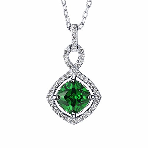 Caperci Sterling Silver Cubic Zirconia and Gemstone Pendant Necklace for Women, 18'' by Caperci