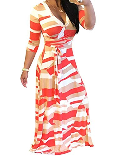 Locryz Women's V Neck 3/4 Sleeve African Floral Printed Party Loose Long Maxi Dress with Belt S-3XL