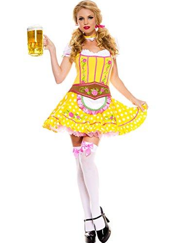 [MUSIC LEGS Women's Bright Dirndl, Yellow, Small/Medium] (Gretel Sexy Adult Costumes)