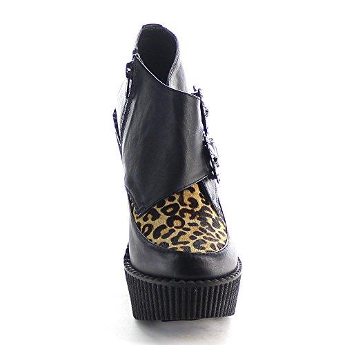 Demonia CREEPER-306 Blk V. Leather-Tan Leopard Printed Pony