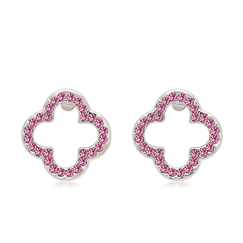 - St.Ushine Sterling Silver Plated Lucky Four Leaf Clover Heart Shape Crystal Stud Earrings for Women (Fashion earrings- Silver with Hot Pink)