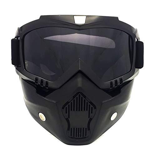 HCMAX Motorrad Brille Mit Abnehmbarer Gesichtsmaske Harley Stil Helm Nebelfest Winddicht Reiten Sonnenbrille…