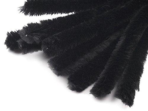 15 Draht, Pfeifenreiniger Ø 15 mm Länge 30cm CHENILLE, schwarz