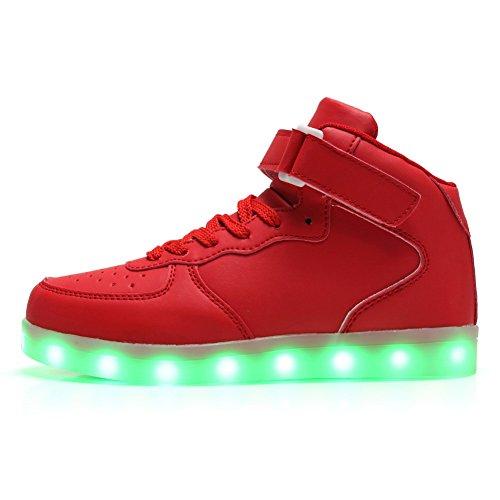 Fckee Nieuwe Verbeterde Led Verlichting Up Shoes Knipperen Sneakers Oplichten Sportschoenen Usb Opladen Knipperen Schoenen Voor Kinderen Van Vrouwen Mens Rood