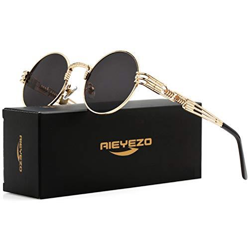 Round Steampunk Sunglasses John Lennon Hippie Glasses Metal Frame 100% UV Blocking Lens ()