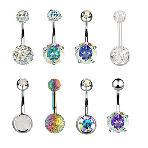 Belly Curved Dangle (TOPBRIGHT 1-10PCS 16G Surgical Steel Dangle Navel Belly Button Ring Bar Curved Barbell Body Piercing Jewelry for Women Crystal CZ Ball Screw Navel Bars (8PCS-Multicolor))