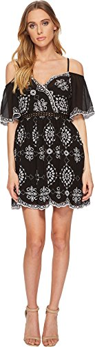 Romeo & Juliet Couture Women's Embroidery Dress w/Cold Shoulders Black/White Small (Couture Romeo Juliet Dresses)