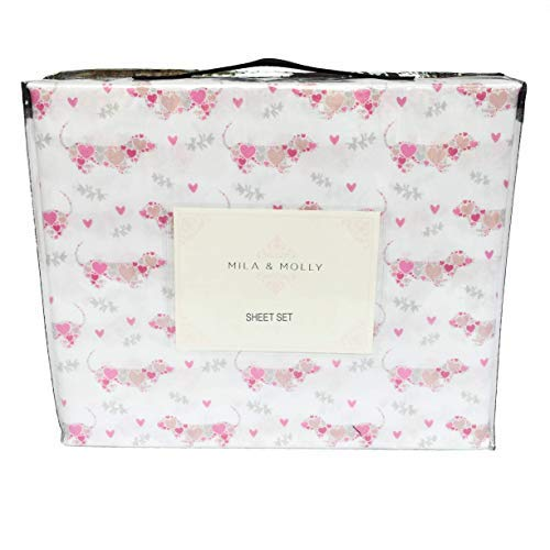 Mila & Molly Pink and Grey Dachshund Sheet Set with Doxie aka Wiener Dogs Full of Hearts (Twin)