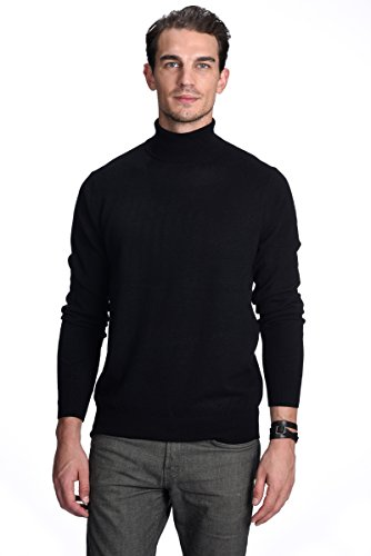 State Cashmere Men's 100% Pure Cashmere Turtleneck Long Sleeve Pullover Sweater (Medium, Black)