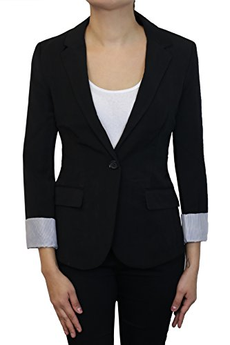 Instar Mode Women's Cuffed Sleeve One Button Boyfriend Blazer Black ()