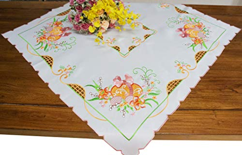 GRANDDECO Spring Easter Egg Table Topper, Floral Cutwork Embroidered Table Linen, Home Kitchen Dining Tabletop Decoration (34