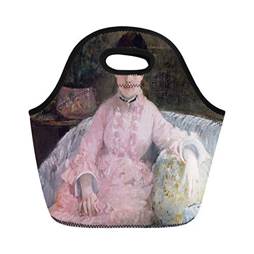 Semtomn Lunch Bags the Pink Dress By Berthe Morisot 1870 French Impressionist Neoprene Lunch Bag Lunchbox Tote Bag Portable Picnic Bag Cooler Bag