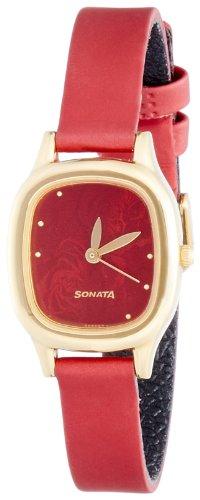 Sonata Superfibre Analog Red Dial Women #39;s Watch NM8060YL03/NN8060YL03