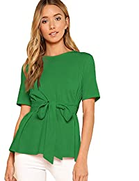 Romwe Blusa de Manga Corta con Cuello Redondo y Corbata para Mujer, Color Verde, Talla pequeña