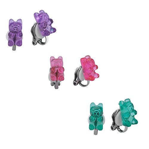 Clip-ons Earrings Set for Girls, Colorful Gummy Bear Stud Earrings for Kids Children Jewelry Set Of -