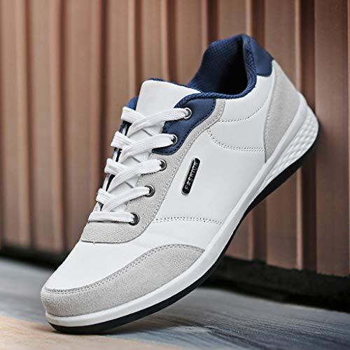 In Pelle Running Lace Scarpe Theshy Traspirante Moda Sneakers Bianco Up Sport Uomo Casual wSCv80q