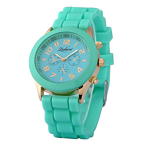 Unisex Silicone Sports Quartz Watches Green - 7