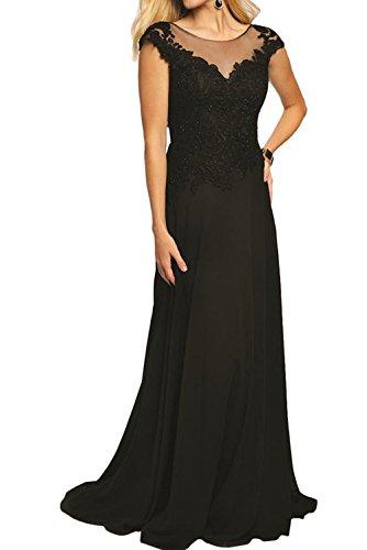 A Ballkleider Festlich Pailletten Charmant Brautmutterkleider mit Promkleider lang Spitze Schwarz Damen linie Abendkleider Ua8q6BS