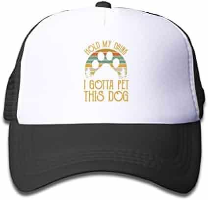 af876481 Hold My Drink I Gotta Pet This Dog Mesh Cap Baseball Trucker Hat Sunscreen  Boys