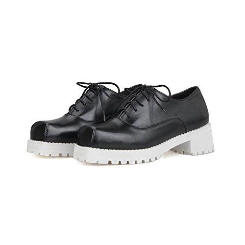 BalaMasa da donna lace-up Solid high-heels microfibra pumps-shoes, Nero (Black), 35