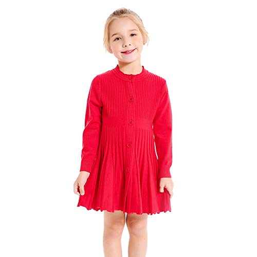 SMILING PINKER Little Girls Pleated Dress School Uniform Long Sleeve Button Front Knit Sweater Dress (red, 3-4)