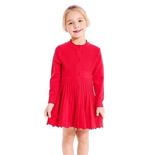SMILING PINKER Little Girls Pleated Dress School Uniform Long Sleeve Button Front Knit Sweater Dress (red, 4-5)
