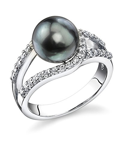 THE PEARL SOURCE 9-10mm Genuine Black Tahitian South Sea Cultured Pearl Tessa Ring for - White Black Ring & Pearl