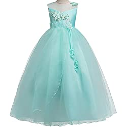HUANQIUE Girls Wedding Bridesmaid Dresses Flower Girl Pageant Maxi Gowns Aqua 9-10 Years