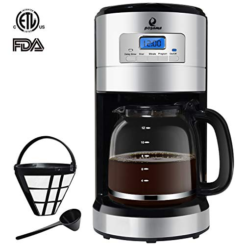 Posame Thermal Automatic Programmable Coffeemaker, 24 Hours Brew Timer, LED Digital Screen, 12-Cup Glass Carafe, Removable Mesh Filter Basket, Black/Stainless Steel