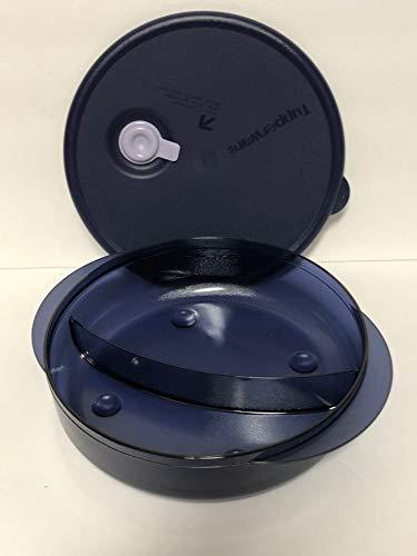 Tupperware Vent N Serve Microwave Round Divided Dish Indigo Blue
