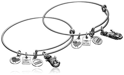 Alex and Ani Charity by Design Side by Side Set of 2 Silver-Tone Otter Bangle Bracelets