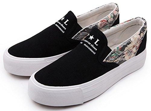 Idifu Donna Dolce Stampa Floreale Piattaforma Slip On Sneakers Di Tela Mocassini Punta A Punta Arrotondata Neri