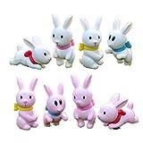 STUDYY 8 Pcs Cute Miniature Rabbit Figuines Animal Rabbit Figure Characters Toys Mini Figure Collection Playset, Rabbit Cake Topper, Plant, Automobile Decoration