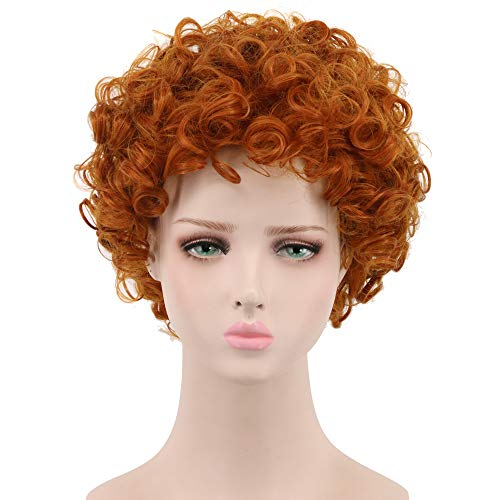 Yuehong Cosplay Wig Short Wavy Orange Full Wigs For Kids Party Halloween Costume]()