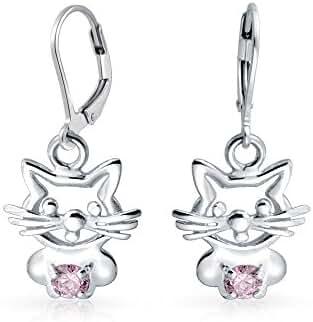 Bling Jewelry Pink CZ Kitty Cat Leverback Dangle Earrings Sterling Silver