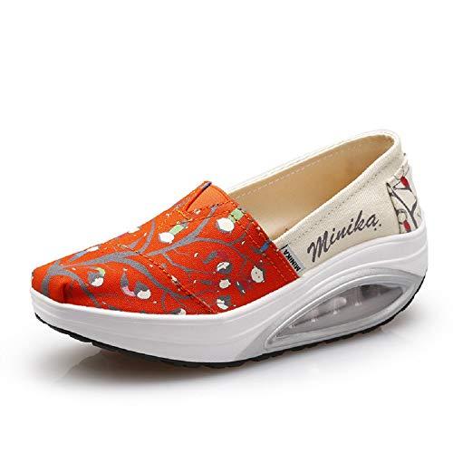 Naranja Mujer Rocker Sole Slip color Naranja 40 Qiusa Zapatillas Tamaño On Comfort De Imprimir Eu Lona BTFxqS